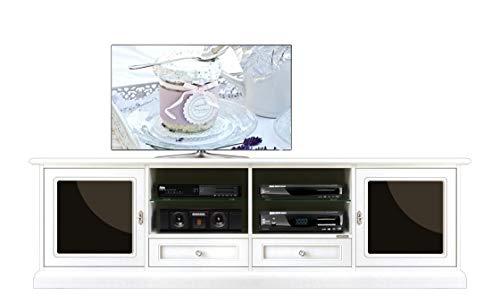 Meuble Banc TV 200 cm de Long laqué Blanc et vitres Noires, Portes, tiroirs et niches, Fonctionnel et de Haute qualité, Produit Artisanal Italien