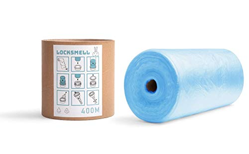 LOCKSMELL Nappy Bin Liner Compatible with Tommee Tippee Sangenic, Angelcare & Litter Locker II cartridges| Made From Recycled Materials + Refill Tube For Easy Refilling (400 m)