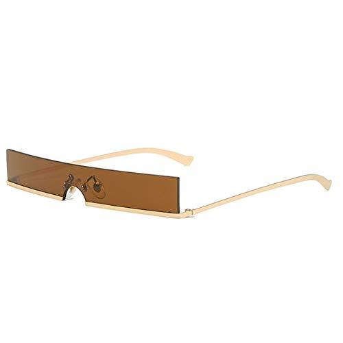 gafas de sol Moda Medio capítulo rectángulo pequeño de los vidrios de mujer de marca popular diseñador de una pieza rojo sombras Hombres Mujeres Gafas de controladores (Color : Brown)