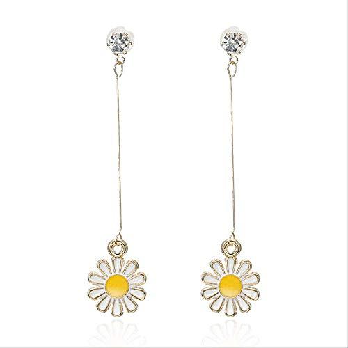 Sieraden voor vrouwenKleine frisse stijl oorbellen Kleine Daisy hanger Lange oorbellen Stijl ontwerp voor de lieve meid