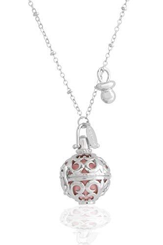 Engelsrufer Klangkugel rhodiniert perforiert mit Xylophon innen farbig rosa silber Halskette 100 cm mit Anhänger Schnuller