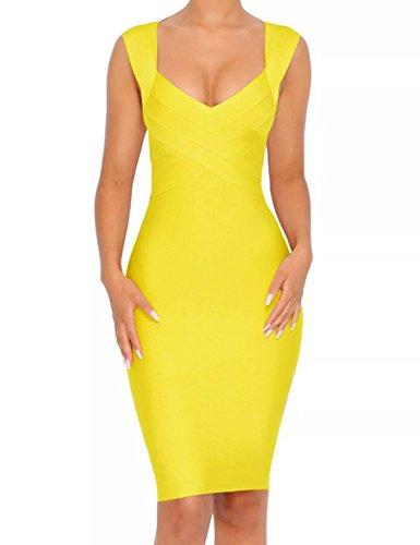 Whoinshop Damen Kleid mit V-Ausschnitt, trägerlos, figurbetont, Bandage - Gelb - Mittel