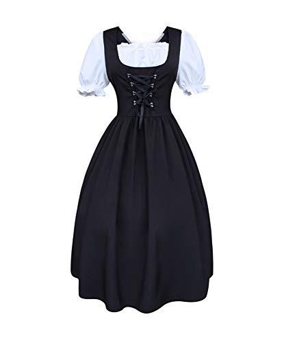 IDEALcos Damen Mädchen Classic Lolita Kleid Kurzarm Bluse Halloween Cosplay Kostüme (Schwarz, L)