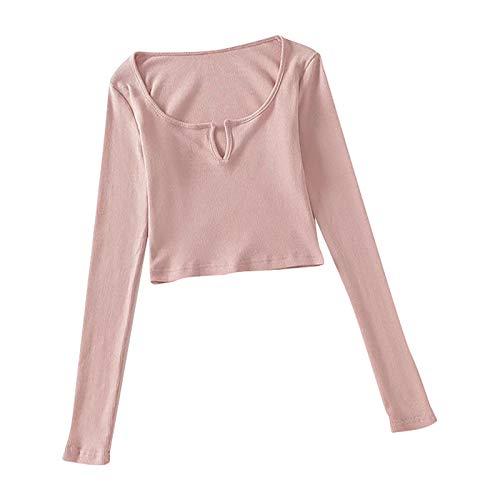 Top sexy da donna, con scollo a V, a maniche lunghe, con scollo a V Colore: rosa. S