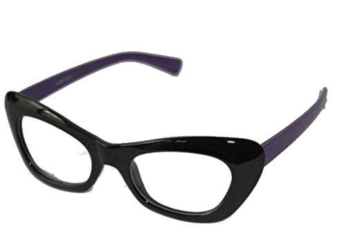 Preisvergleich Produktbild Emeco Cat Eye Brille Nerd Brille 50er Jahre Klarglas Pinup S5572 (SCHWARZ-LILA)