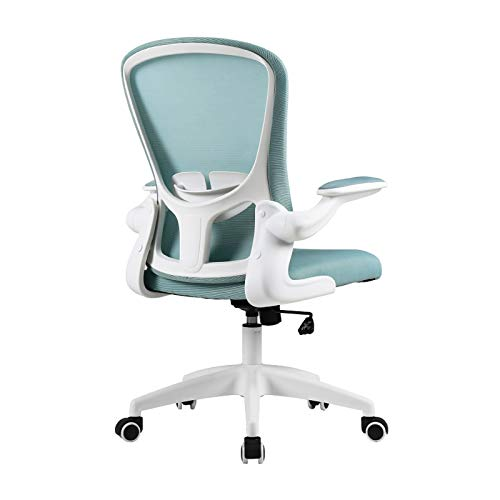 Silla oficina ejecutiva Silla ergonómica de oficina, silla de escritorio de malla con soporte lumbar y altura ajustable, silla giratoria con brazos de flip-up, 30 ° reclinable y mecedora silla de ofic