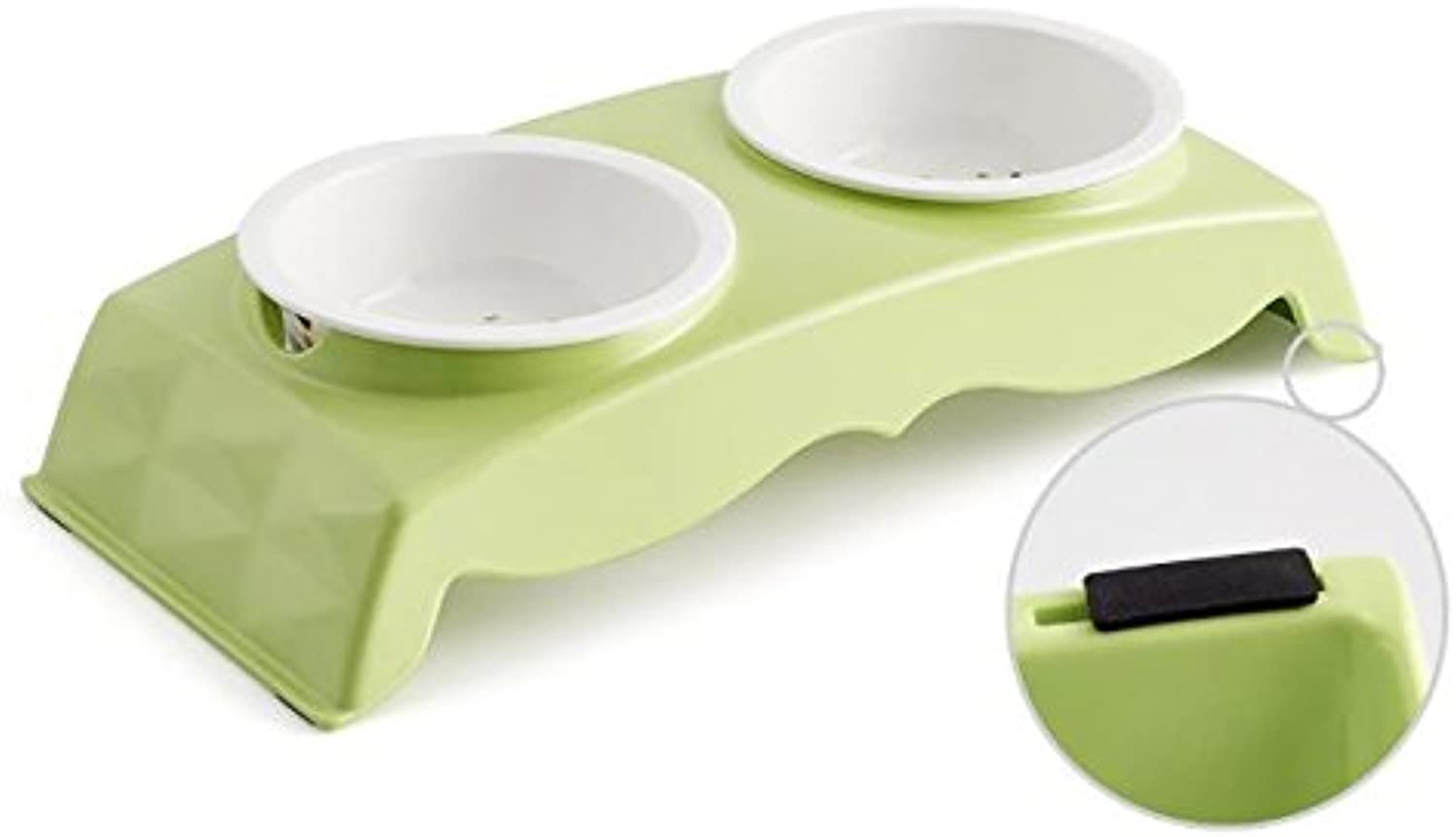 JEZBSY Melamine Pet Bowl for Food and Water Bowls Pet Feeders Double Bowls SetStainless and Ceremic Bowl