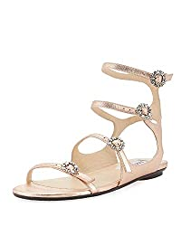 Naia Metalic Flat Sandal With Crystal Buckles Rose Gold