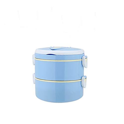 1 unid Adulto portátil de Acero Inoxidable Almuerzo Mesa vajilla contenedor de Alimentos 1-4 Capa Estudiante Almuerzo microondátago Almuerzo térmico (Color : Blue 2 Layer)