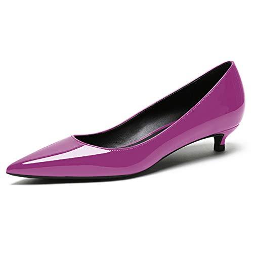 EDEFS Damen Klassische Pumps,Kitten-Heel Schuhe,Komfort Pumps,Low Heel Lila Pumps Größe 41