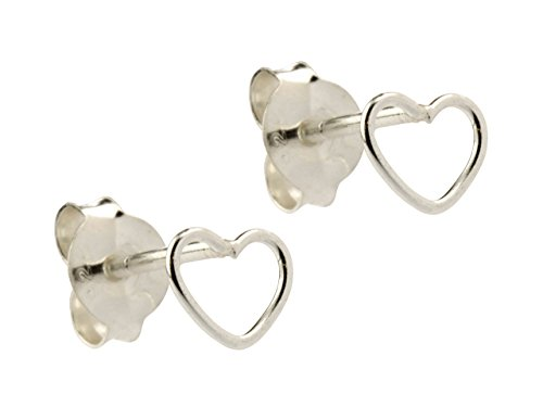 Sterling zilveren hart Outline oorbellen vlindersluiting