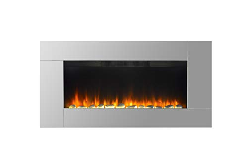 Wall Mounted Electric Fire Widescreen Home Living Flame Mirror Glass Fireplace
