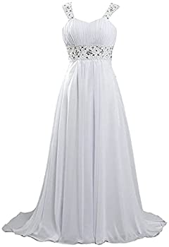Fanciest Beach Chiffon Wedding Dresses 2021 Plus Size Bride Wedding Gowns Simple Long Formal Dress for Women with Strap White US18W