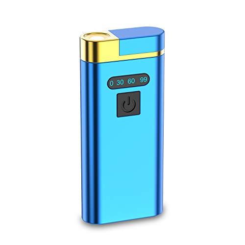 電子ライター LED懐中電灯 USB充電式 小型 プラズマUSB ライター 懐中電灯付き IP65級防塵 防風 無火炎 強風でも使い 軽量 ガス不要 登山 キャンプ プレゼント アウトドアギフト ブルー