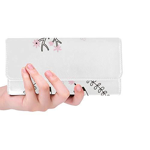 Einzigartige Nette Bambi Kind-Gekritzel-Frauen-dreifachgefaltete Mappen-Lange Geldbeutel-Kreditkarte-Halter-Fall-Handtasche