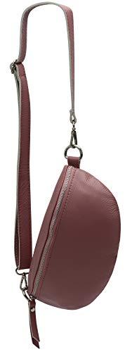 SH Leder ® echt Leder Hüfttasche Damen Herren unisex Gürteltasche für Festival Reise Bauchtasche mittelgroße Crossbody Bag Frauen Ledertasche 27x15cm Karla G359 (Altrosa)