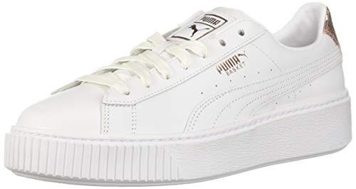 Puma Womens Basket Platform Leather Low Top Lace Up Fashion, White, Size 9.0