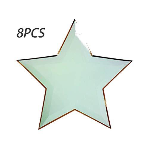 BASSK (8pcs) Assiette Jetable étoile Vaisselle à Cinq Branches Assiette En Papier