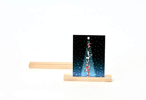 anaan Track Kartenhalter Holz Fotohalter Moderner Bilderrahmen Platzkarte Tischkartenhalter Namenschild Hochzeit geometrisch Tischdeko (2er Set Buche (16 cm und 21 cm))