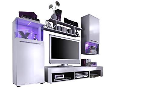 trendteam smart living Wohnzimmer Anbauwand Wohnwand Wohnzimmerschrank Punch, 228 x 183 x 47 cm in Korpus Weiß, Front Weiß Glanz mit LED Farbwechselbeleuchtung