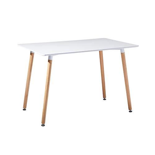 EGGREE Table à Manger en Bois Rectangulaire Table Scandinave Design Table de Cuisine pour 2 4 Personnes,110x70x72cm Blanche
