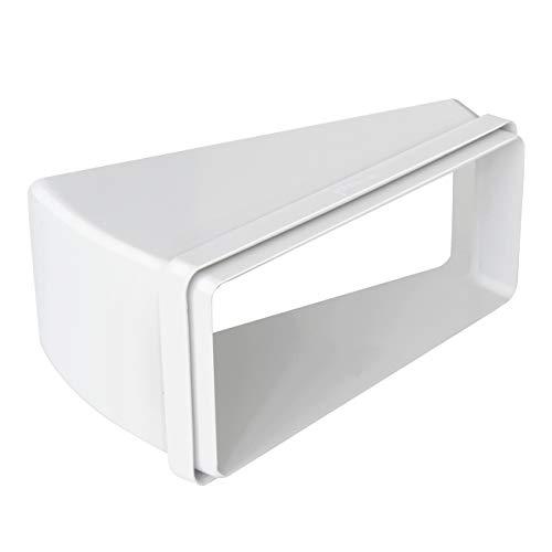 La ventilación CCO22915B curva horizontal 220 x 90 mm a 15° en ABS para tubo rectangular. Color blanco.