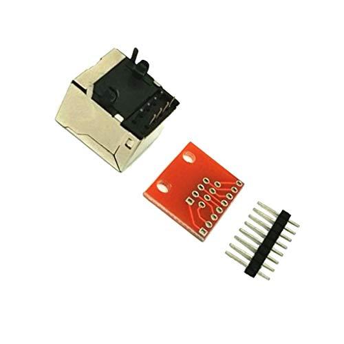 Almencla 1 Juego de Conector de Clavija RJ45 8-P Y Kit de Adaptador de Placa de Conexión Compruebe Ethernet - No soldar
