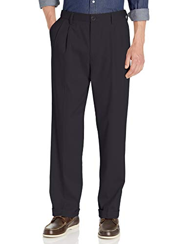 Dockers Men's Relaxed Fit Easy Comfort Pants D4-Pleated, Navy, 34W x 29L