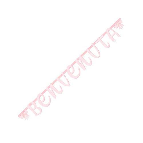 Festone Benvenuta Ghirlanda di Carta Rosa con Fiocchi per Bambina Scritta Benvenuta 2mt