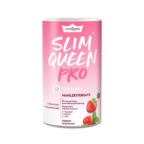 GymQueen Slim Queen Pro Abnehm-Shake 420g, mit Probiotika und Hyaluronsäure, Leckerer Diät-Shake zum Abnehmen, Mahlzeitersatz mit wichtigen Vitaminen und Nährstoffen, 250 kcal pro Portion, Erdbeere