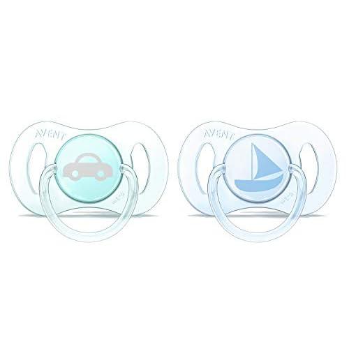 Philips Avent SCF151/01 Succhietti Mini con Tettarelle Ortodontiche, senza BPA, 0-2 Mesi, 2 Pezzi, Azzuro e Blu