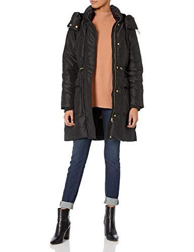 Jessica Simpson Damen Long Puffer Jacket Daunenalternative, Mantel, Schwarz (mit Kapuze), Mittel