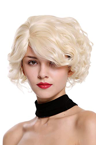 WIG ME UP - MINA-613 Perruque dame courte ondulée vagues sauvages blond platine