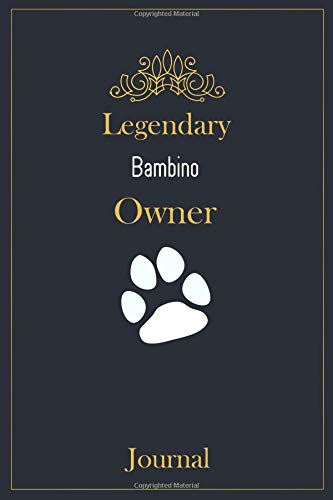 Legendary Bambino Owner Journal: A classy black, gold and white Bambino Lined Journal for Cat owner notes.
