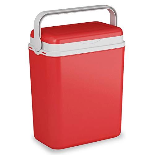 Kühlbox Kühltasche Kühlbehälter mit Deckel für Getränke Flaschen Speisen klein 12 Liter rot Camping Auto LKW Sport Garten Reise Strand Picknik Caravan Wandern robust einfach passiv Kühlboxen Styropor