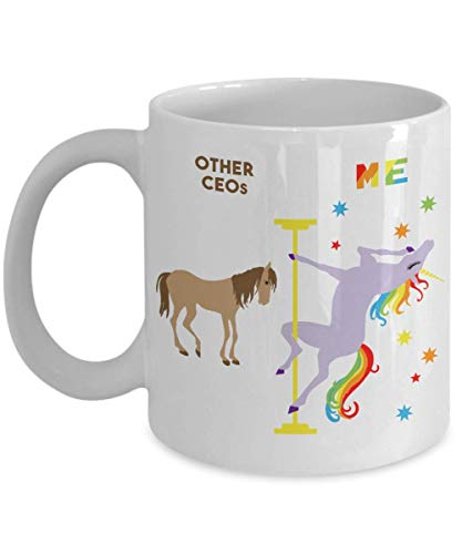 N\A Lustige CEO Geschenkidee CEO Tasse CEO Geburtstag CEO Kaffeetasse Pole Dancing Unicorn