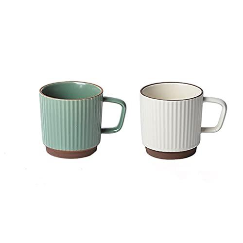 Cafe Mug Taza de cafe Juego de Tazas Taza de café porcelana con mango Conjunto de microondas y lavavajillas Taza ancha segura para café con leche Cereal de té de café con cuchara de platillo blanco bl