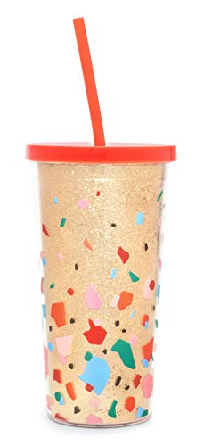 sip tumbler with straws Ban.do Deluxe Sip Sip Insulated Tumbler with Reusable Straw, 20 Ounce Travel Cup with Lid, Confetti (Gold)