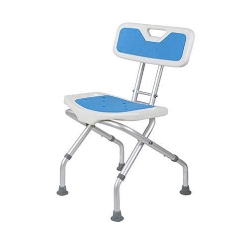 JJZXPJ Opvouwbare Douche Krukken, Badstoel Met rugleuning Verstelbare Hoogte Aluminium Invaliditeit Hulp Voor Ouderen/Gehandicapten/Zwangere Vrouwen
