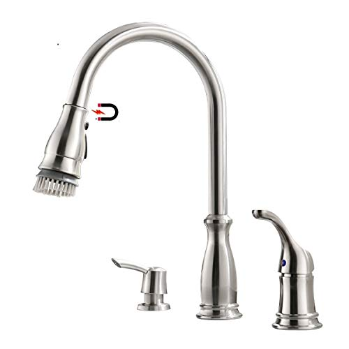 Cheapest Prices! APPASO 3 Hole Kitchen Faucet with Pull Down Magnetic Docking Sprayer Stainless Stee...