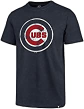 MLB Men's Distressed Imprint Match Team Color Primary Logo Word Mark T-Shirt (Chicago Cubs Navy, Small)