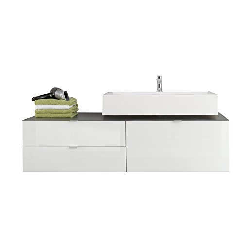 trendteam smart living Badezimmer Waschbeckenunterschrank Unterschrank Beach, 140 x 53 x 53 cm in Korpus Grau Melamin, Front Weiß Hochglanz inkl. Waschbecken