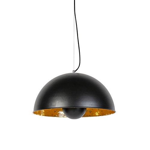 QAZQA Modern Industrielle Hängelampe schwarz mit Gold/Messing 50 cm - Magna Eglip/Innenbeleuchtung/Wohnzimmerlampe/Schlafzimmer/Küche Stahl Rund LED geeignet E27 Max. 1 x 40 Watt