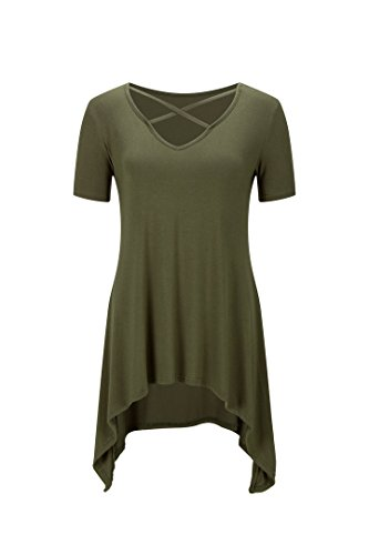 hippolo de la Mujer Sexy Criss Cross Cuello Casual Loose Camiseta Túnica Top Verde Militar 3XL
