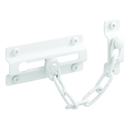 Prime-Line U 9852 Chain Door Guard, 3-5/16 in., Steel Construction, White