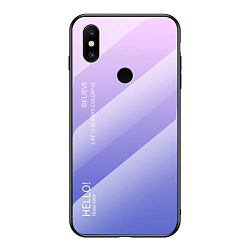 LUSHENG Capa para celular Xiaomi Mi Mix 2S, cor gradiente vidro temperado capa traseira macia TPU Edge para Xiaomi Mi Mix 2S (6 polegadas) - rosa + roxo