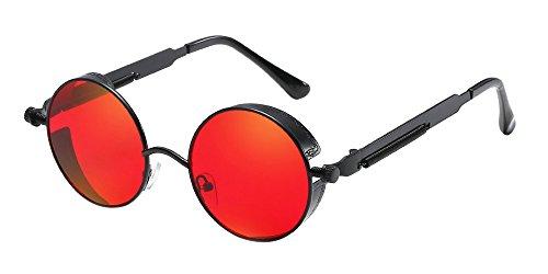 BOZEVON Punk Runde Sonnenbrille - Klassische Metall Radfahren Retro Sonnenbrille für Damen & Herren Schwarz-Rot