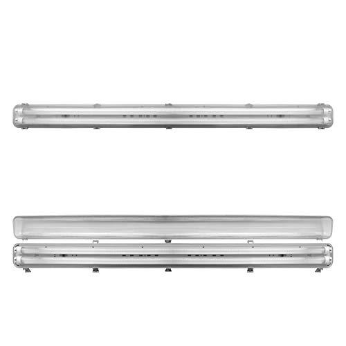 LineteckLED® - E01.024.30C Kit 2 Tubi neon LED trasparente 150cm 30W Luce calda 3000K + Plafoniera doppia impermeabile per esterno IP65 150 cm Copertura trasparente Attacco T8