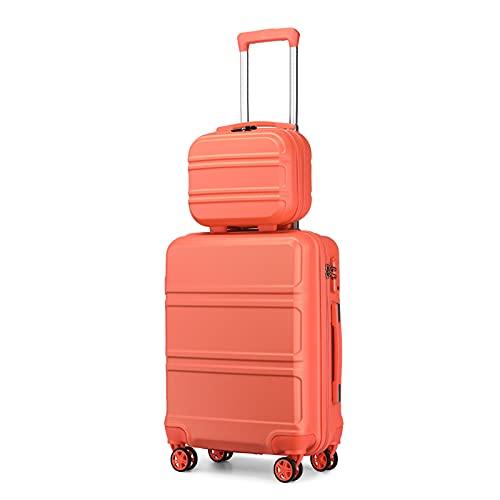 Kono Set di Valigie da 2 Pezzi Valigia Rigida Materiale ABS Leggero Borsa da Toilette e Bagaglio a Mano 4 Ruote Rotanti con Lucchetto TSA (Rosa Corallo)