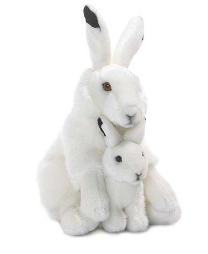 WWF 14578 Schneehase 30cm, sitzend mit Baby